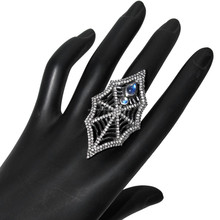 925 Sterling Silver Pave Diamond Rainbow Moonstone Spider Web Ring Jewelry Supplier