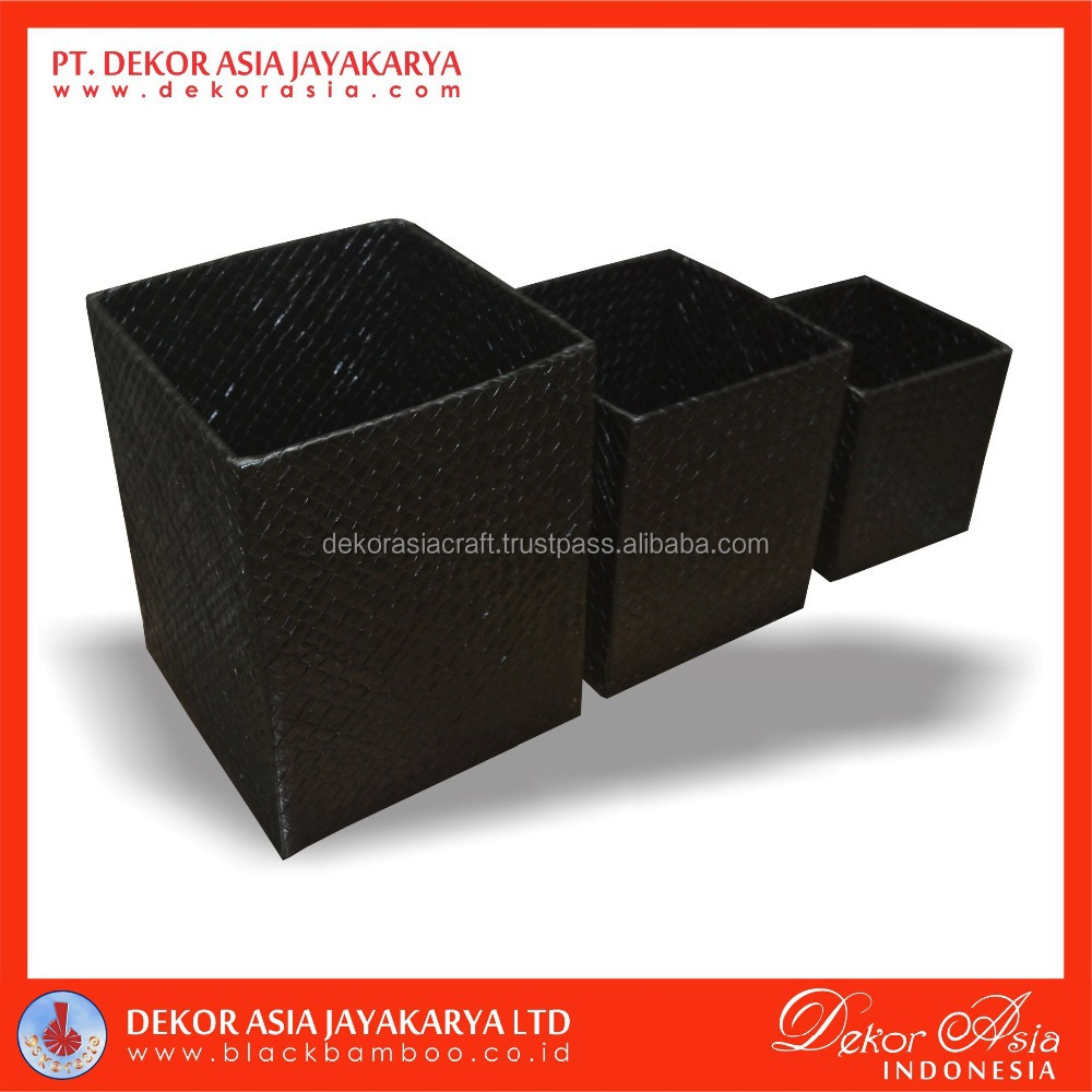 Square Box With Lid Set Of 3, Pandanus