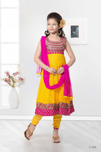 Lemon yellow color with pink zari design at neck Anarkali salwar kameez Sizzling Girls Ready Made