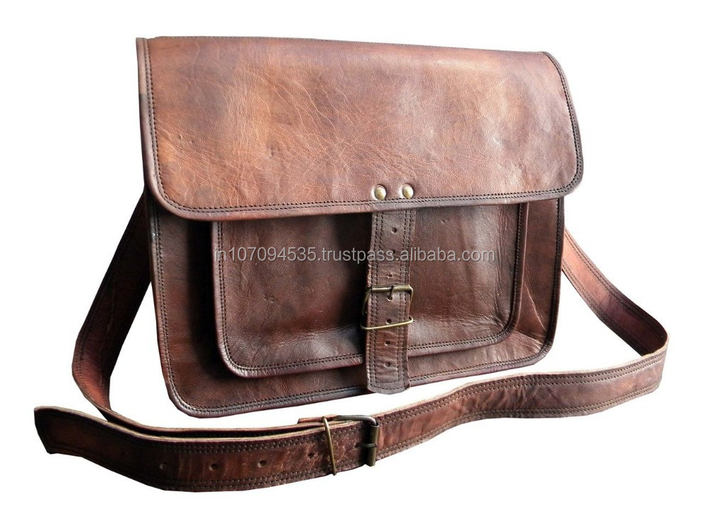 School College & Multipurpose Use Sling Cross Body Bag For Man Woman Goat Leather Office Bag