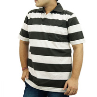 T-Shirt Wear Stripe Printed Collar Neck Black Short Sleeve Men Size XXXL TEE278B