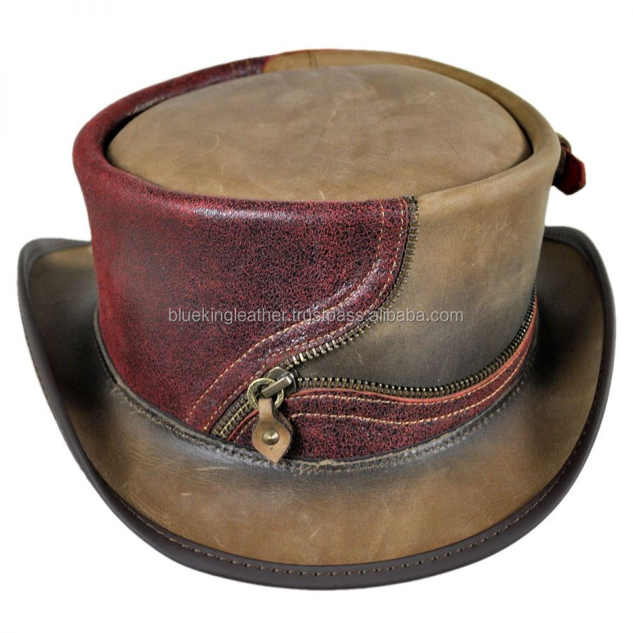 ZIPPER GOTHIC STYLE TOP GENUINE LEATHER HAT