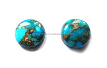 Blue Mohave Turquoise Round Cabochon Loose Gemstone