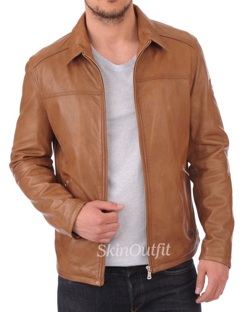 Mens leather bomber jacket genuine men leather jacket