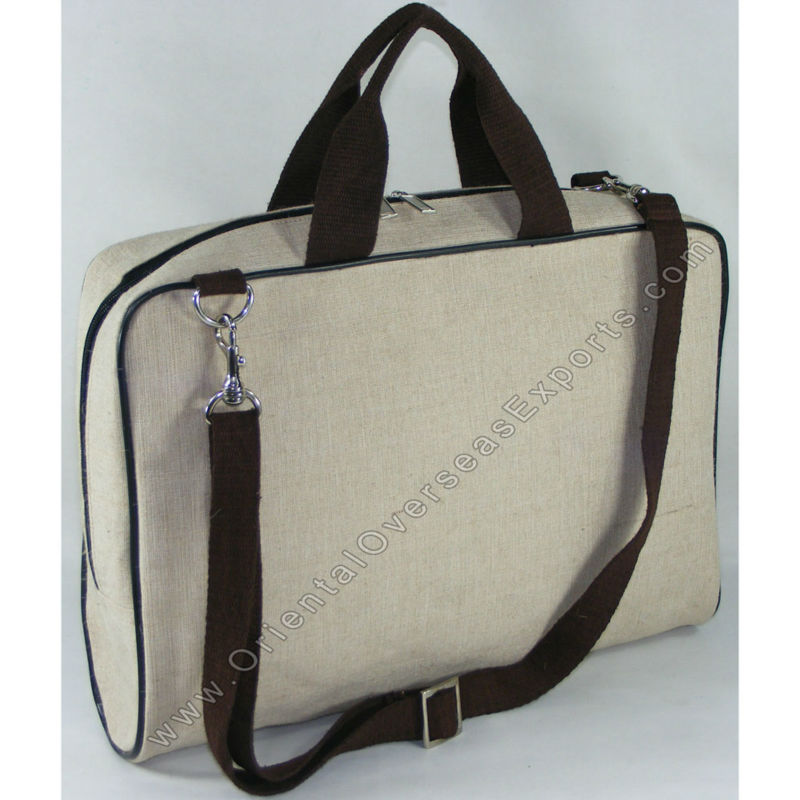 custom printed jute cotton laptop bag with protective padding inside