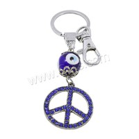 Evil Eye Key Chain Zinc Alloy with Lampwork & Iron Peace Logo plated evil eye & with rhinestone nickel lead & cadmium free 35x1