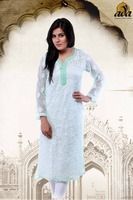 LUCKNOWI CHIKAN HAND EMBROIDERED FAUX GEORGETE KURTI A69786 BY ADA