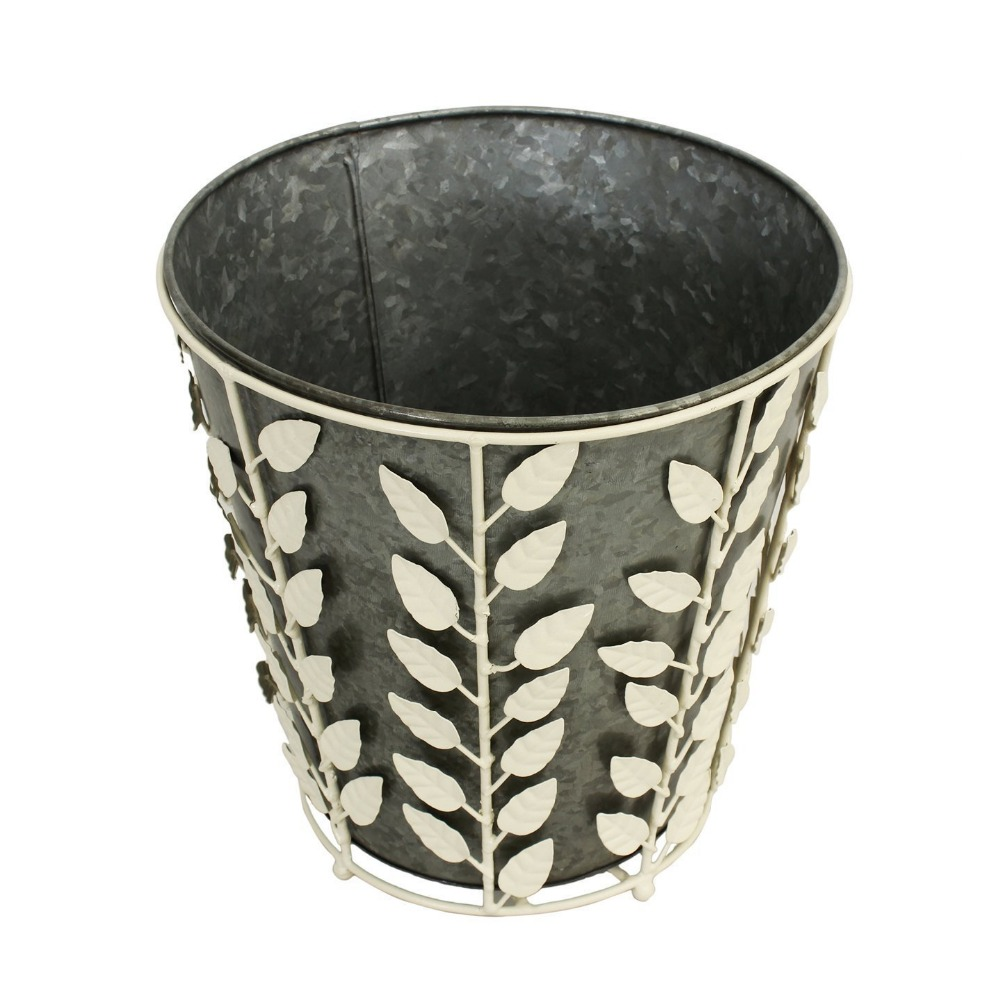 Vintage Style Iron Bucket Planters with Removable White Floral Cover - Flower Bud Plant Pot