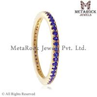 Women Anniversary Gift Jewelry 14k Yellow Gold Blue Sapphire Gemstone Eternity Wedding Band Ring