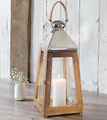 Hurricane Lantern In Wooden With Metal Top With High Polish Finish on Lantern