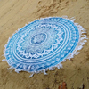 White and blue color indian tassel cotton round printed beach towel