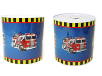 "SAVING BANK TIN FIRE TRUCK 5.3DIA*5.8""H, #23641T"