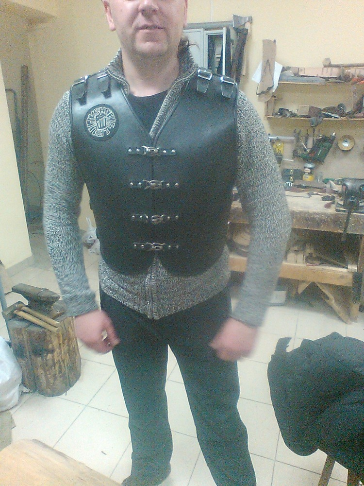 Leather Motorcycle Vest-Cuirass, New, Handmade