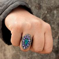 925 Sterling Silver Pave Diamond Tanzanite Blue Fire Opal Gemstone Ring Exporter of Diamond Gemstone Jewelry