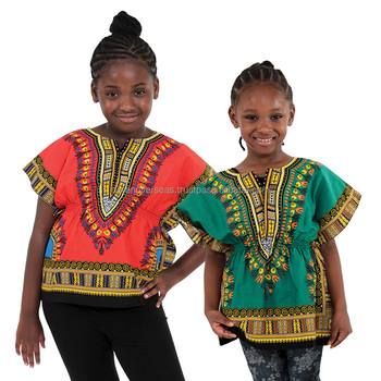 Kids Traditional Pull Waist Dashiki Shirt