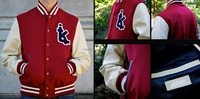 New Best Embroidered,Tackle Twilled,Chenille Wool Leather Varsity Jacket/Red wool And Off White collage varsity jackets /AT BERG