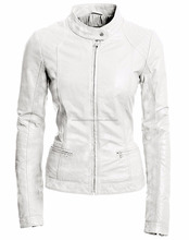 2017 high quality fashion white real leather jackets for women leather jacket made in pakistan