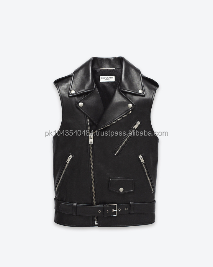 Unisex Leather vest Motorcycle Leather vest