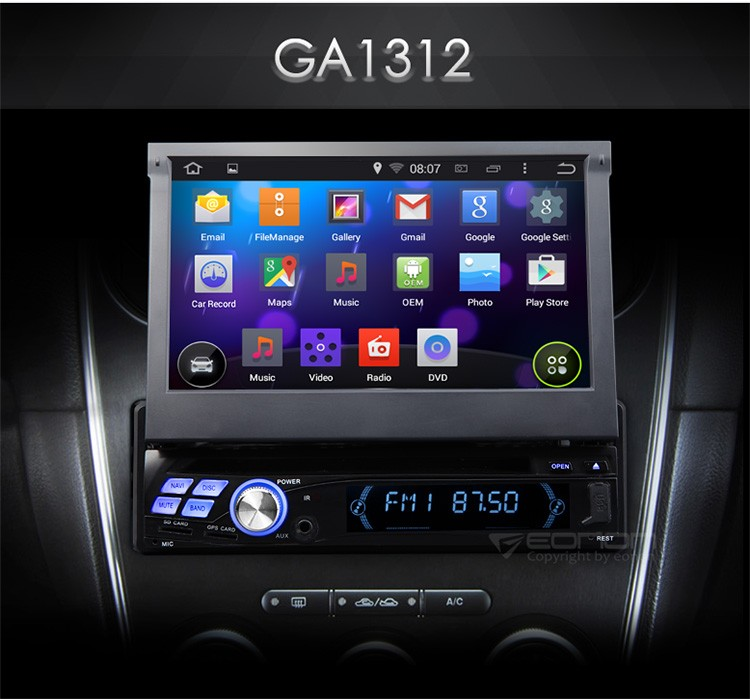 EONON GA1312 1-DIN Android 4.4.4 Quad-Core 7 inch Multimedia Car DVD GPS with Mutual Control EasyConnection