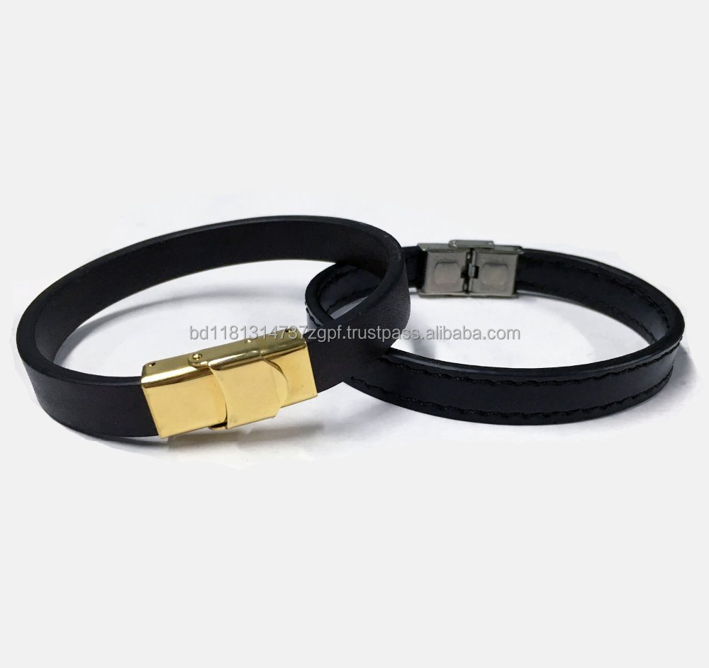 Genuine Leather bracelet stainless steel gold PVD coating