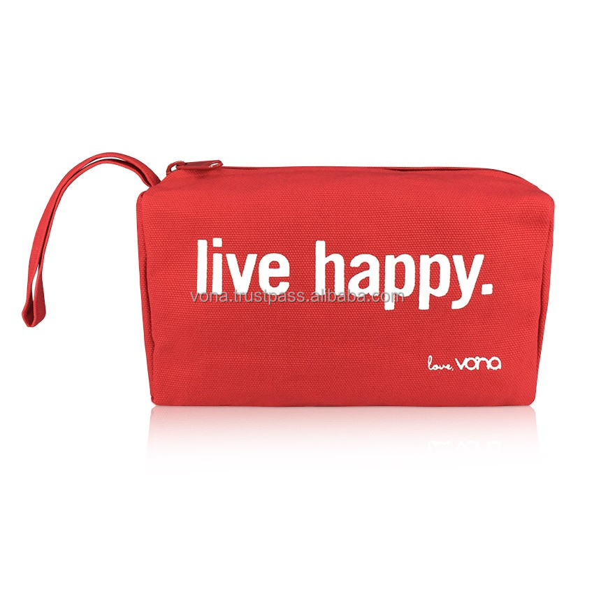 OEM Bali Wholesale Canvas Toiletries Makeup Cosmetic Travel Pouch Designer Handbag Unisex (LIV1604-Red)