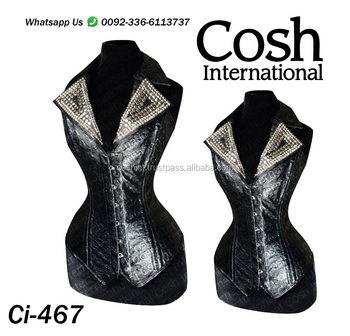 Ci-486 Black Fashion Leather Steelboned Studded Corset Supplier