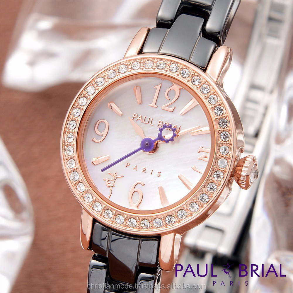 Lady Jewelry Watches Women Ceramic Water Resistant 30m Paul Brial Korea Made
