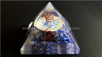 Orgone Pyramids With Copper Coil and Flower Of Life Symbol : Lapiz Lazuli Orgone Pyramid