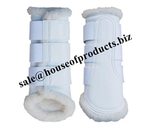 horse Dressage boots Horse Brushing Boots White Leather