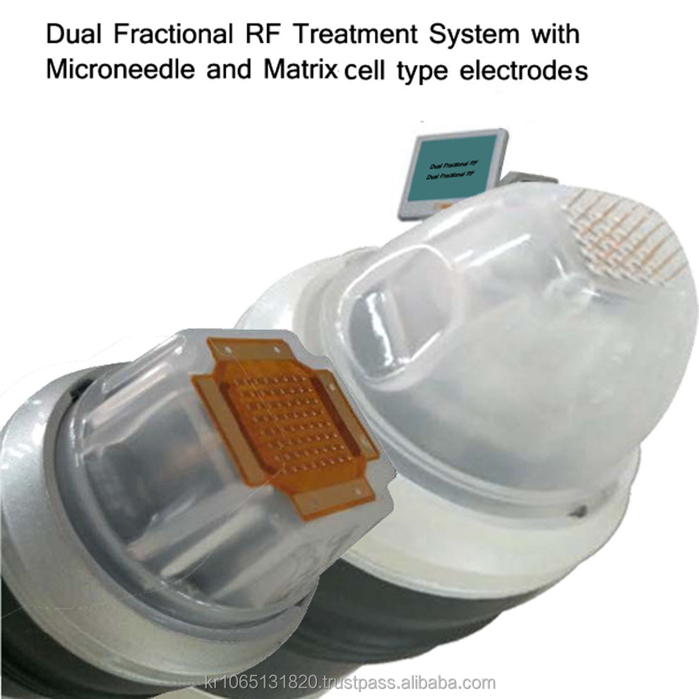 RF dual fractional treatment system with microneedle and matrix cell electrodes