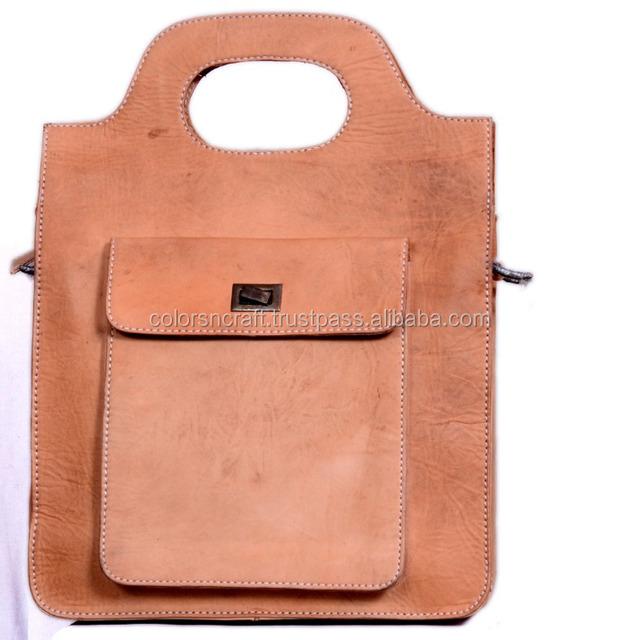 New design Stylish Brown Genuine goat Leather handbag