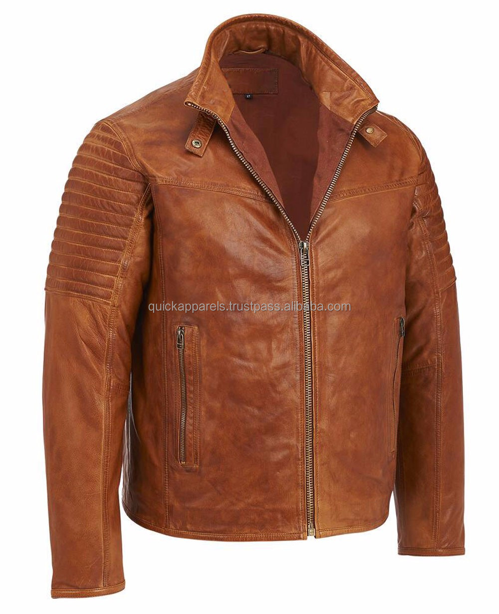 Custom High Quality Men's Leather Jacket / New Fashion Leather Jacket with Metal Zipper / Leather