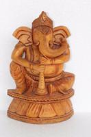 Carved Wood Ganesha Figure