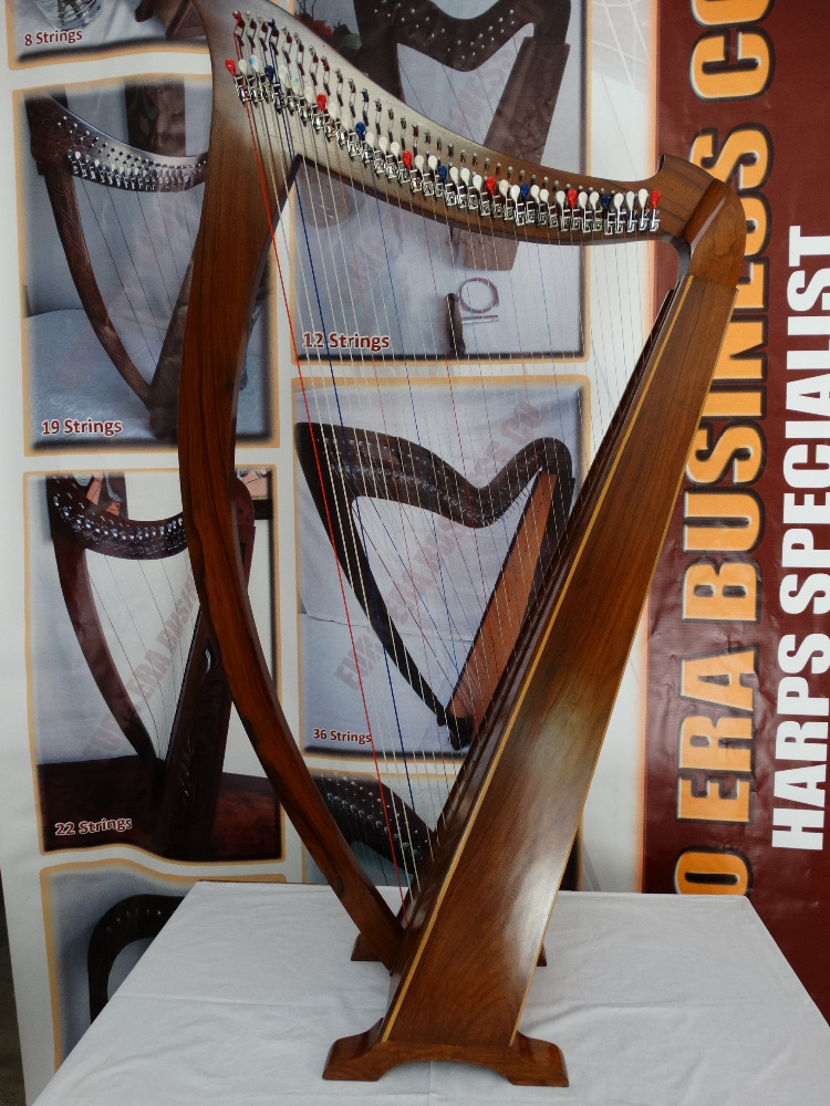 36 string irish lever harp with extra strings, tuning key & tutor book