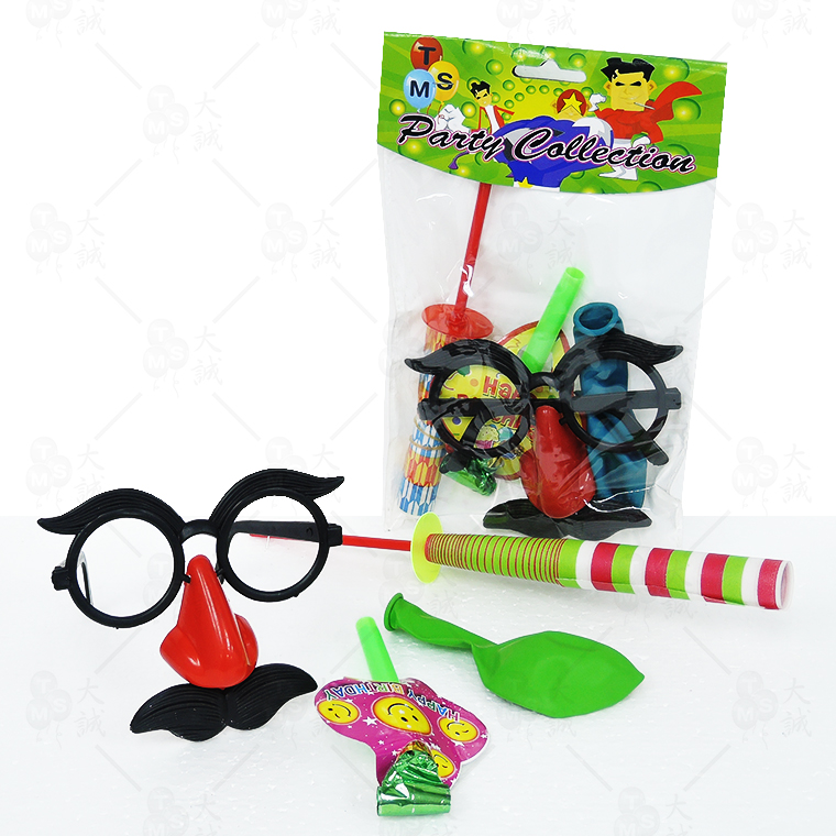 Favors with Glasses Party Pack (4 IN 1) Set Included: Glasses , Card Dragon Blow Out , Magic Stick , Balloon