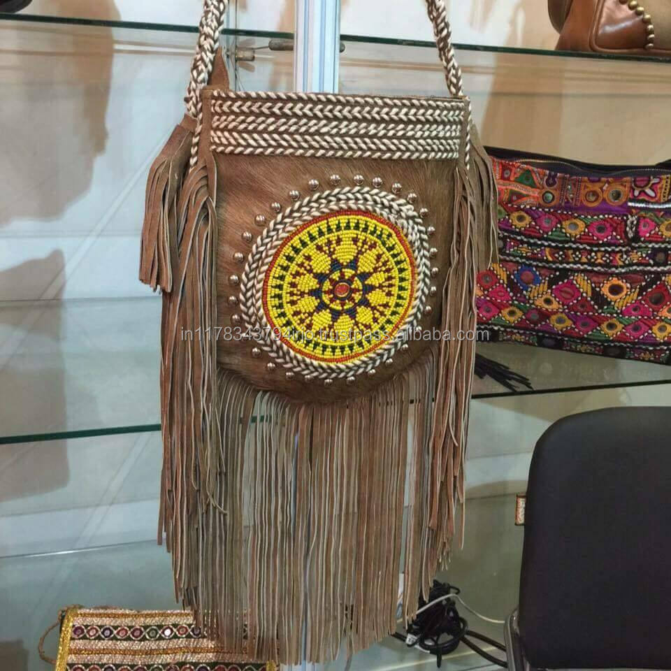 BANJARA TRADITIONAL NEW VINTAGE EMBROIDERY GOAT FUR LEATHER HOBO GYPSY STYLE BOLSOS BAG