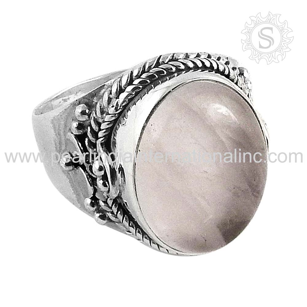 Magnificent Rose Quartz Gemstone Silver Wedding Ring 925 Sterling Wholesale Silver Jewelry Supplier Jewelry