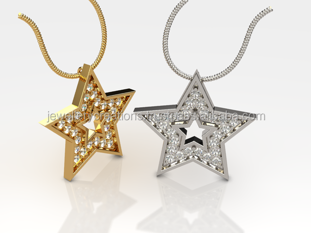 CZ Studded Star Charm 925 Sterling silver