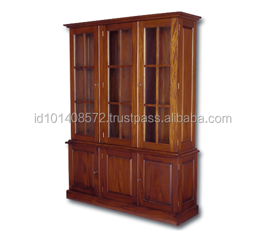 Classic Almirah Design Mahogany Industrial Bookcase 3 door - Book safe Furniture