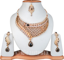 Rose Cut Diamond Beautiful Kundan Nuggets Inspired Necklace Set With Earrings