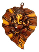 Hindu God Religious Ganesha Mask Antique Metal Brass Leaf Ganesh Wall Hanging Home decor