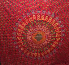 Red Mandala Tapestry Indian Traditional cotton Throw Beach cover Wall Art College Dorm decor