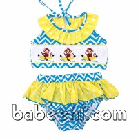 Lovely bananas split hand smocked girl swimwear