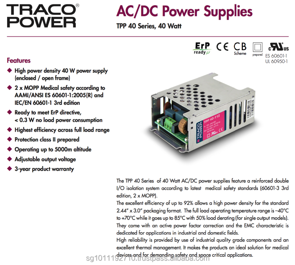 TRACO POWER TPP 40 Series Power Supply/feature a reinforced double I/O isolation system