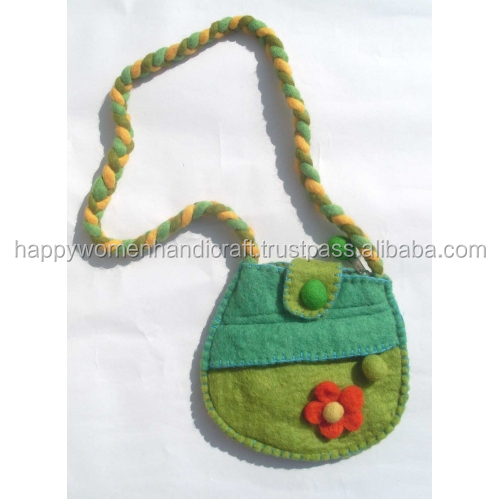 Felted 2-zip with flower hand made bag
