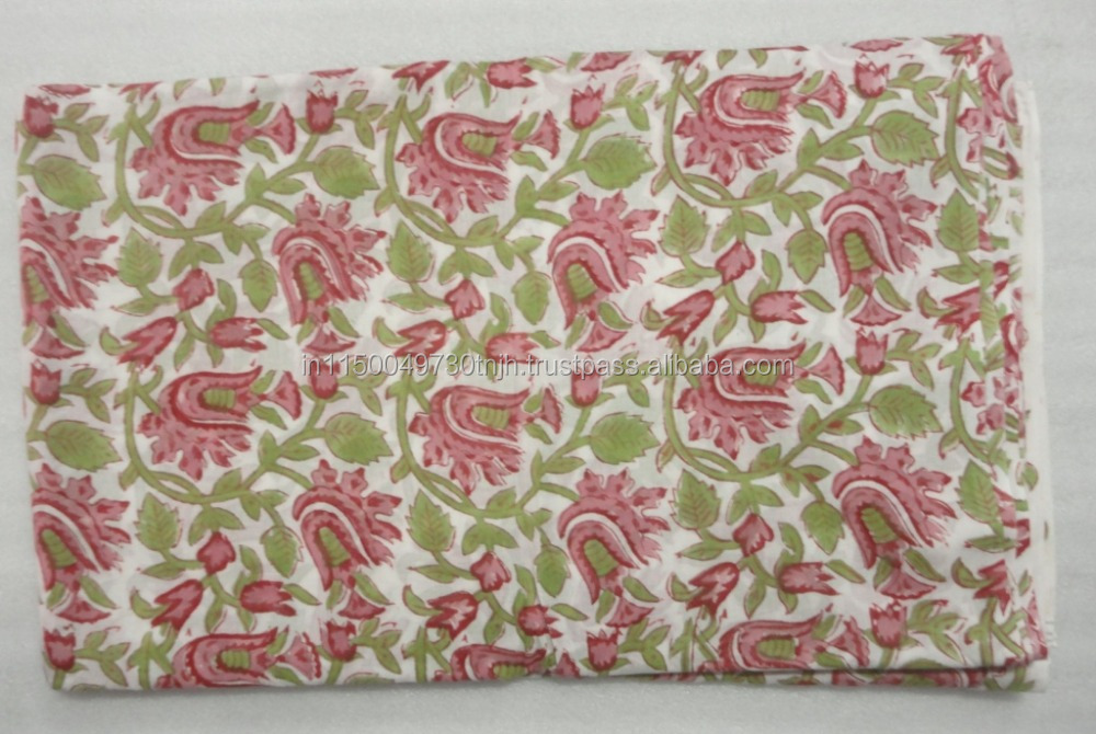 INDIAN HAND BLOCK COTTON FABRIC JAIPUR SANGANER PRINT NATURAL COLOR 2.5 YARD