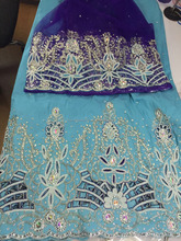 Latest Indian George with carmine blouse high quality Silk George lace (5 yards)matching net french lace(1.5 yards)for wedding