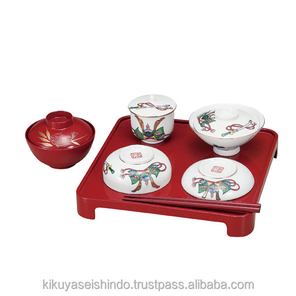 Kutani ware, Children`s tableware set, Long Life and Happiness Helmet (Fukuju Kabuto)