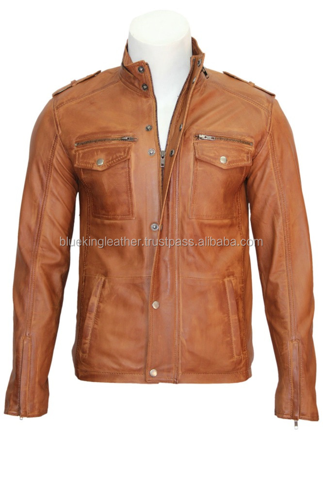 Justin Mens 5540 Gents Tan Designer Real Sheep Napa Soft Lambskin Leather Jacket