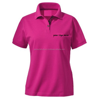 wholesale custom women's polo t shirt, polo shirt embroidery 100% cotton